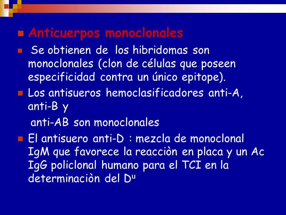 Antisueros específicos Anti-A Anti-B Anti-D :pueden ser de origen Humanos,animal o monoclonales,tambien pueden ser extractos de tejidos vegetales (Lec