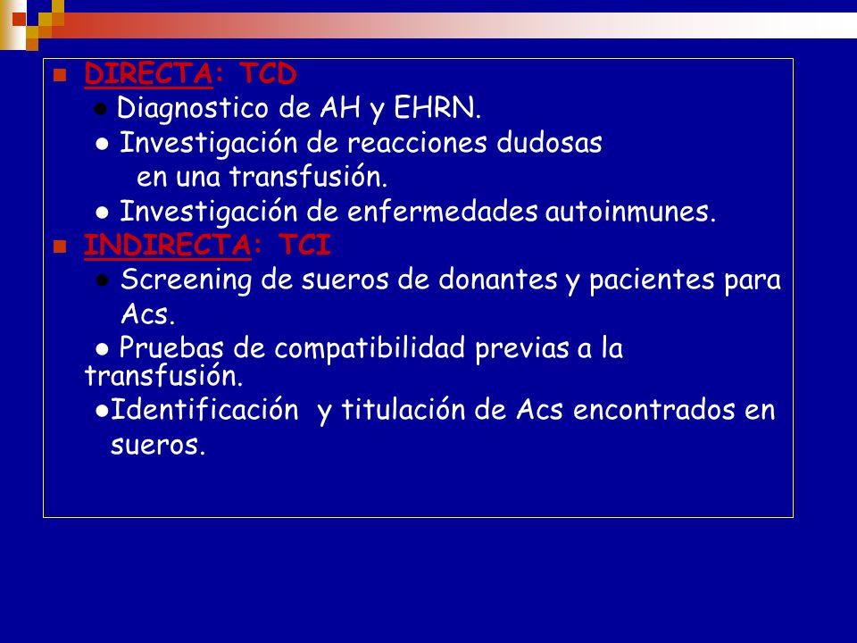 Relevancia de la prueba de la AGH IgMIgG La AGH detecta estos Ac o componentes del C fijados al GR La prueba de la AGH es el método de elección para l