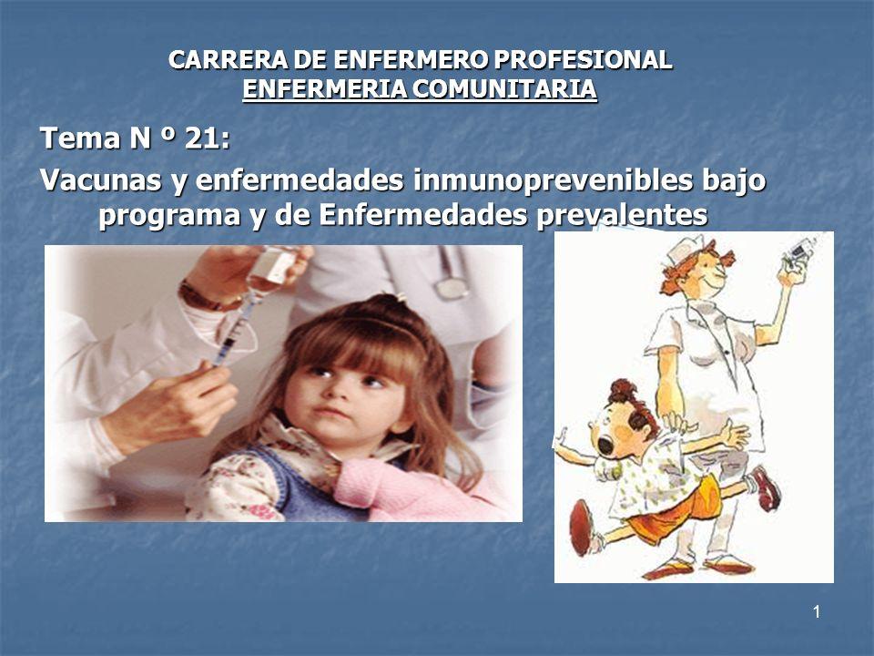 1 Tema N º 21: Vacunas y enfermedades inmunoprevenibles bajo programa y de Enfermedades prevalentes CARRERA DE ENFERMERO PROFESIONAL ENFERMERIA COMUNI