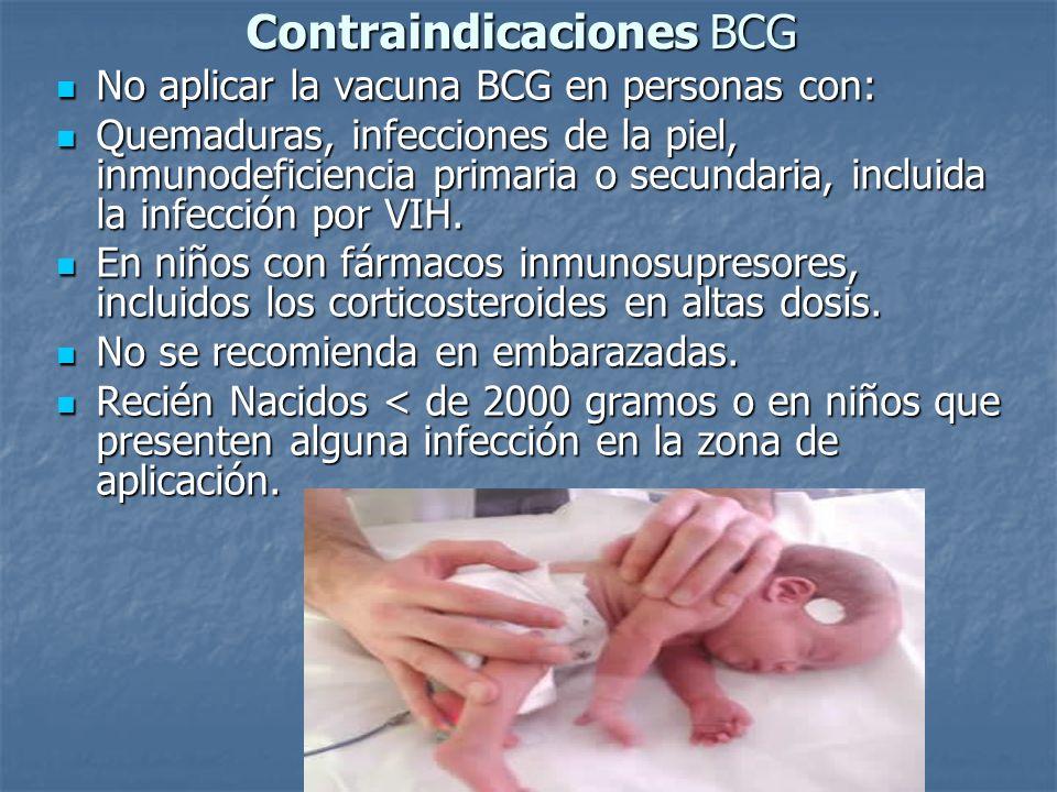 Contraindicaciones BCG No aplicar la vacuna BCG en personas con: No aplicar la vacuna BCG en personas con: Quemaduras, infecciones de la piel, inmunod