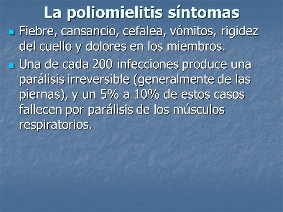 La poliomielitis síntomas Fiebre, cansancio, cefalea, vómitos, rigidez del cuello y dolores en los miembros. Fiebre, cansancio, cefalea, vómitos, rigi