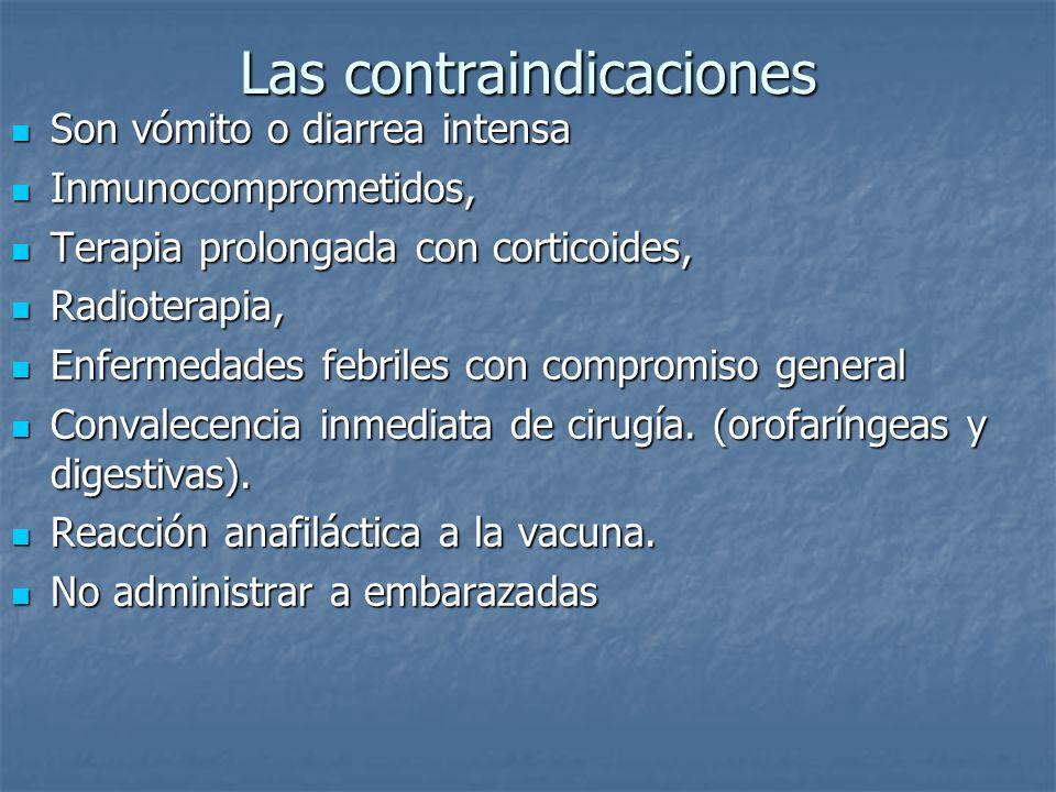 Las contraindicaciones Son vómito o diarrea intensa Son vómito o diarrea intensa Inmunocomprometidos, Inmunocomprometidos, Terapia prolongada con cort