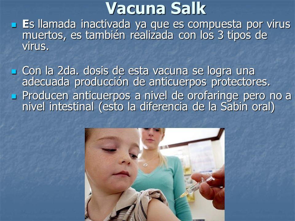 Vacuna Salk Es llamada inactivada ya que es compuesta por virus muertos, es también realizada con los 3 tipos de virus. Es llamada inactivada ya que e