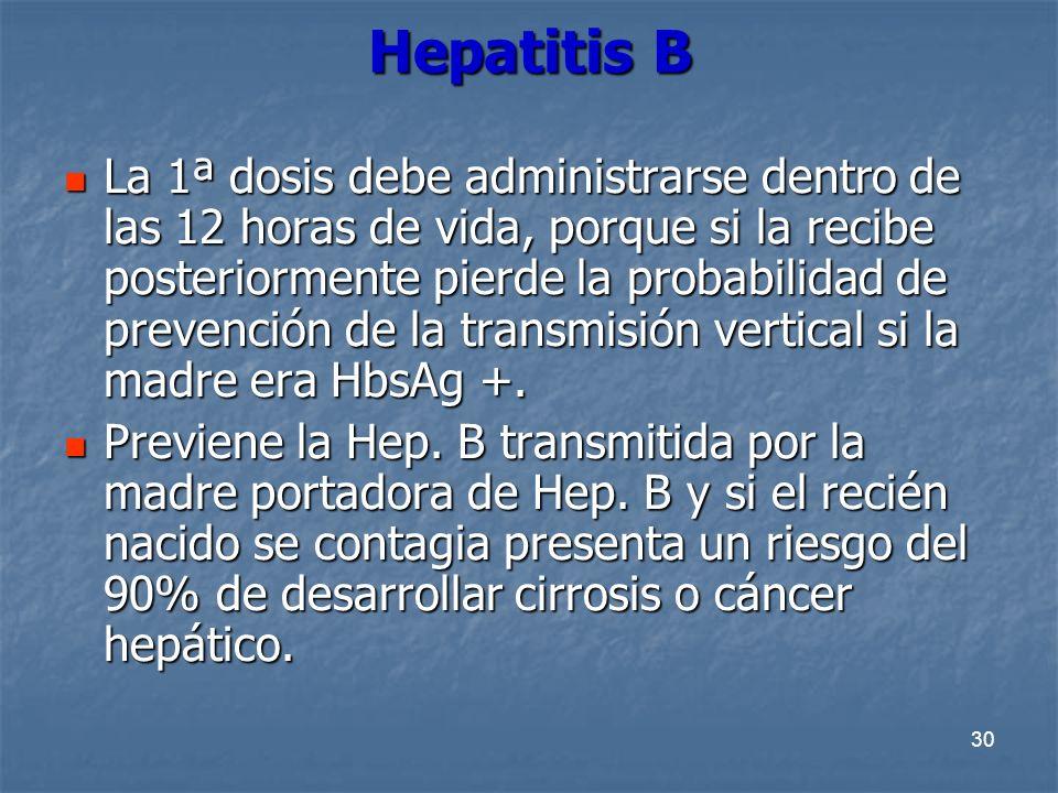 30 Hepatitis B La 1ª dosis debe administrarse dentro de las 12 horas de vida, porque si la recibe posteriormente pierde la probabilidad de prevención