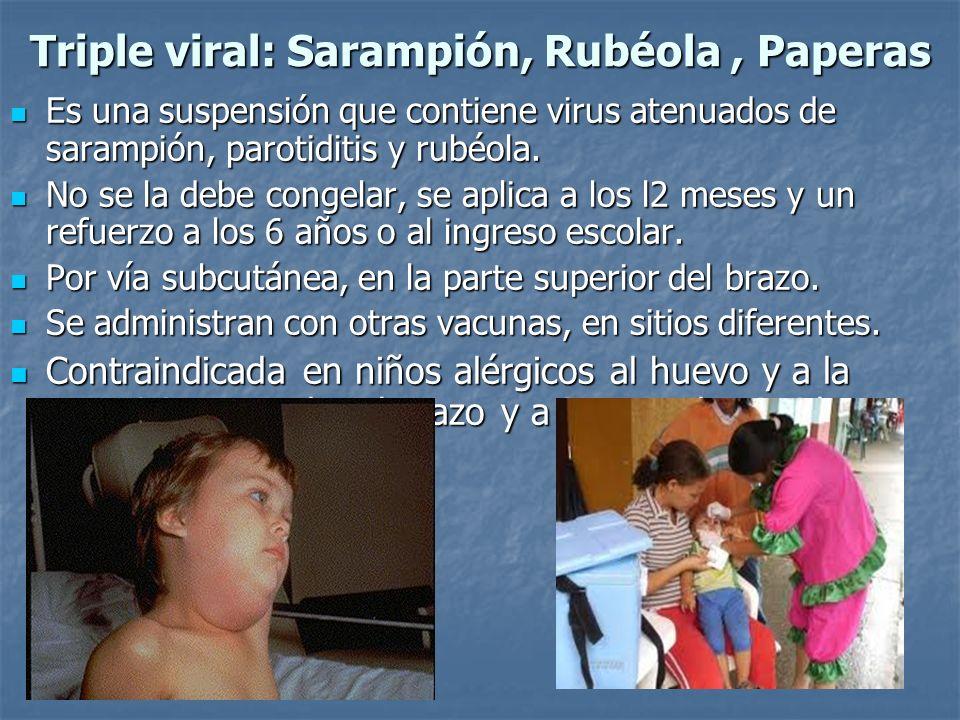 Es una suspensión que contiene virus atenuados de sarampión, parotiditis y rubéola. Es una suspensión que contiene virus atenuados de sarampión, parot