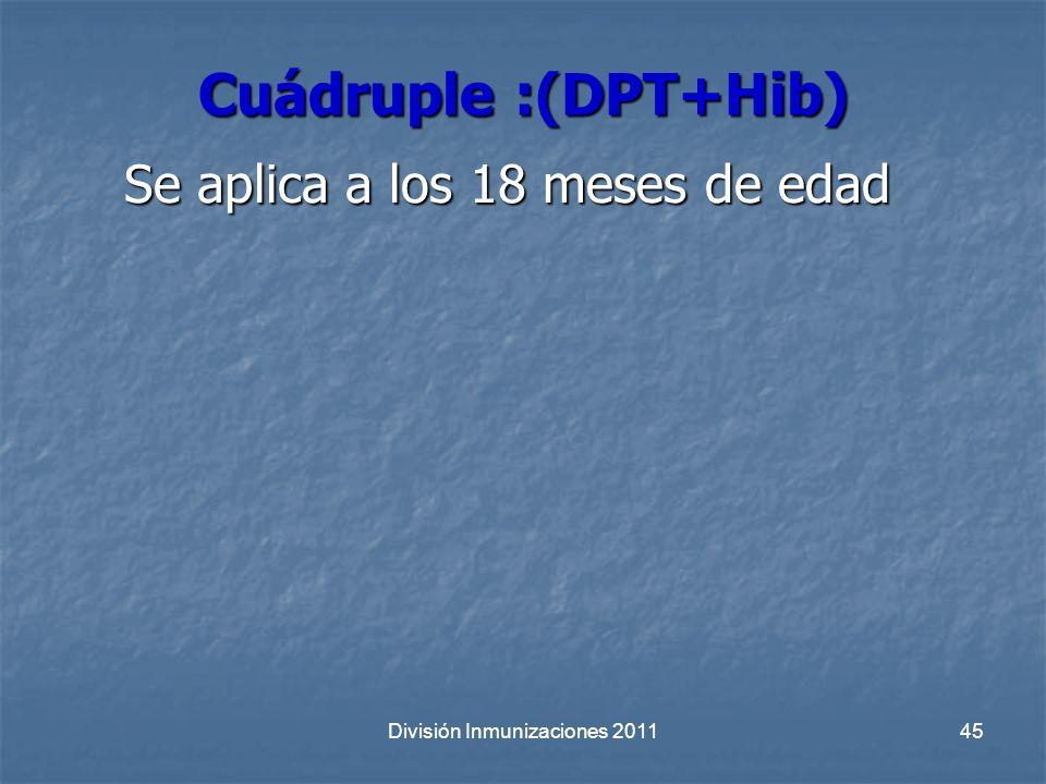 División Inmunizaciones 201145 Cuádruple :(DPT+Hib) Se aplica a los 18 meses de edad