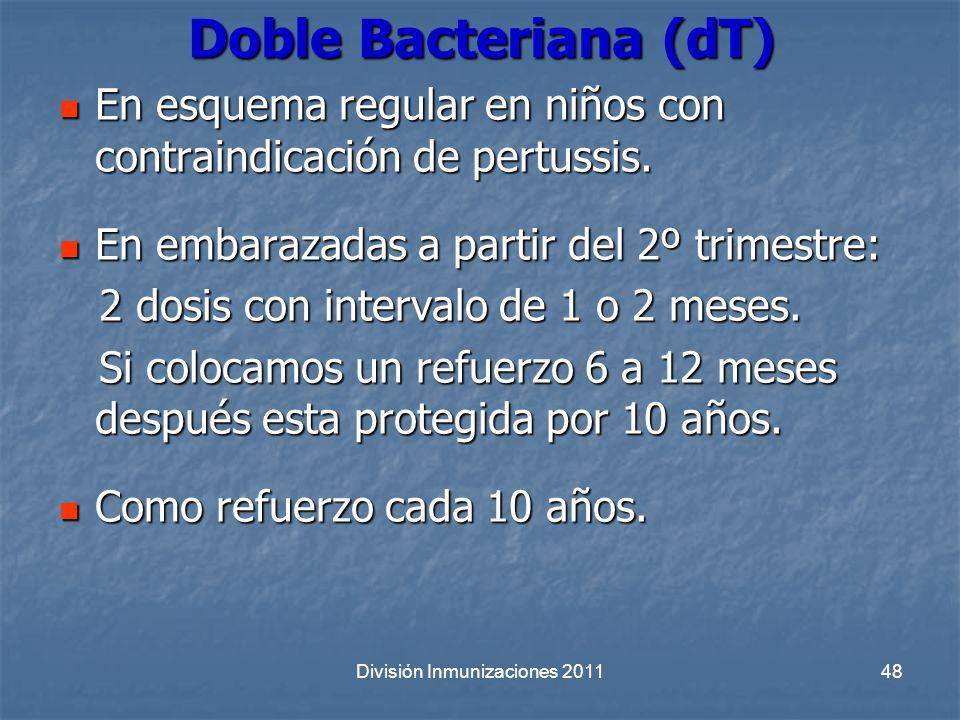 División Inmunizaciones 201148 Doble Bacteriana (dT) En esquema regular en niños con contraindicación de pertussis. En esquema regular en niños con co