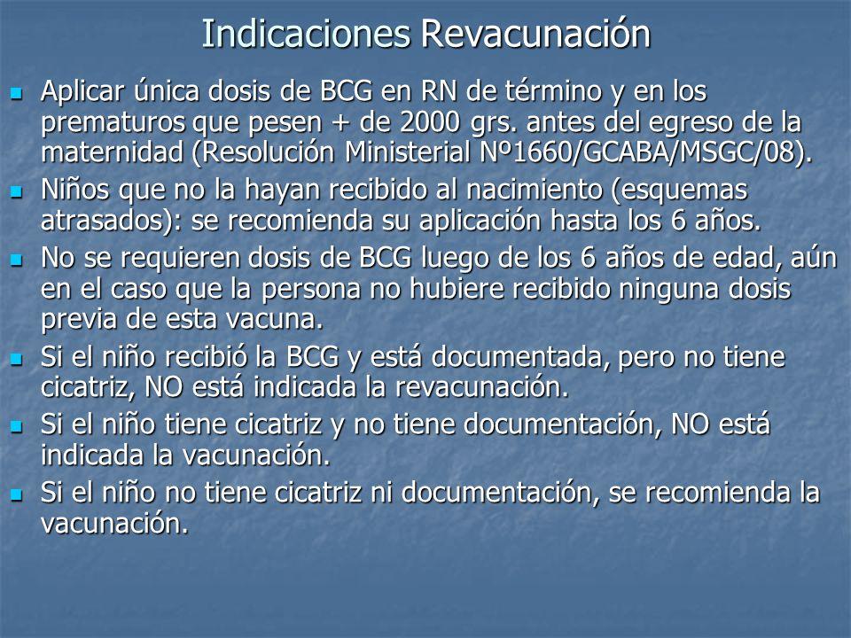 Indicaciones Revacunación Aplicar única dosis de BCG en RN de término y en los prematuros que pesen + de 2000 grs. antes del egreso de la maternidad (