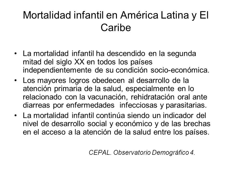 Mortalidad infantil en América Latina y El Caribe La mortalidad infantil ha descendido en la segunda mitad del siglo XX en todos los países independie