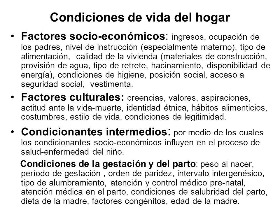 Condiciones de vida del hogar Factores socio-económicos: ingresos, ocupación de los padres, nivel de instrucción (especialmente materno), tipo de alim