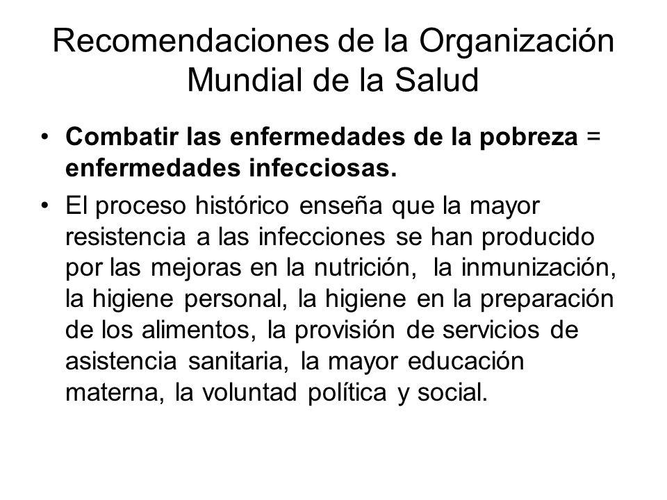 Recomendaciones de la Organización Mundial de la Salud Combatir las enfermedades de la pobreza = enfermedades infecciosas. El proceso histórico enseña