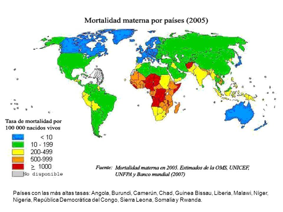 Países con las más altas tasas: Angola, Burundi, Camerún, Chad, Guinea Bissau, Liberia, Malawi, Níger, Nigeria, República Democrática del Congo, Sierr