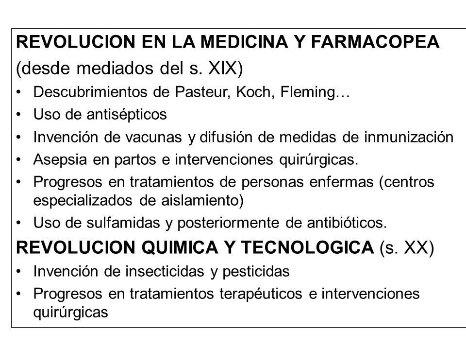 REVOLUCION EN LA MEDICINA Y FARMACOPEA (desde mediados del s. XIX) Descubrimientos de Pasteur, Koch, Fleming… Uso de antisépticos Invención de vacunas