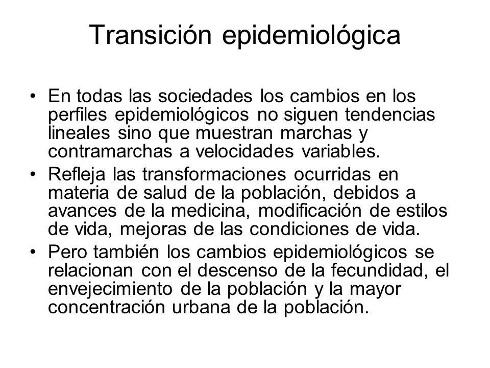 Transición epidemiológica (Omram 1971) 1.Cambios en la composición de la mortalidad por edades (la disminución se produce en todas las edades pero principalmente en edades tempranas) 2.Cambios en la composición de la mortalidad por sexo.
