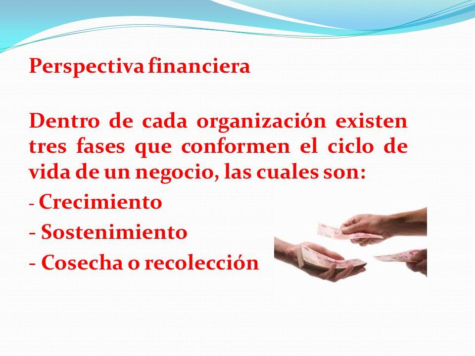 Perspectiva financiera Dentro de cada organización existen tres fases que conformen el ciclo de vida de un negocio, las cuales son: - Crecimiento - So
