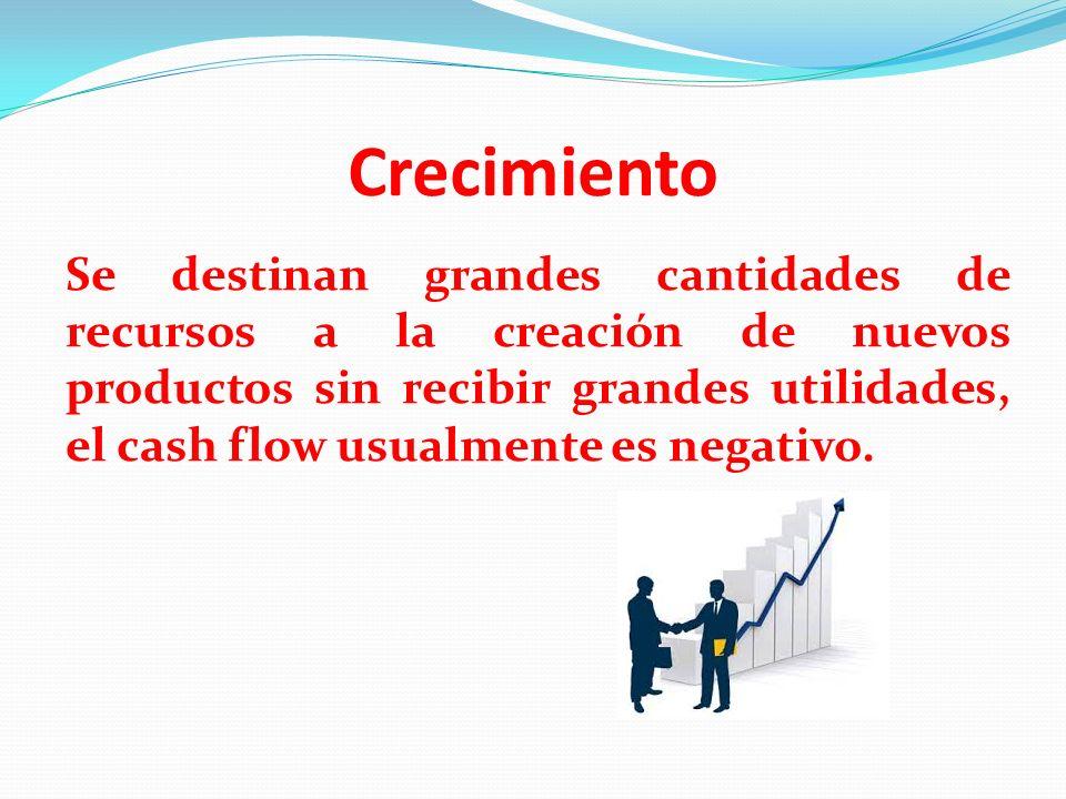 Crecimiento Se destinan grandes cantidades de recursos a la creación de nuevos productos sin recibir grandes utilidades, el cash flow usualmente es ne
