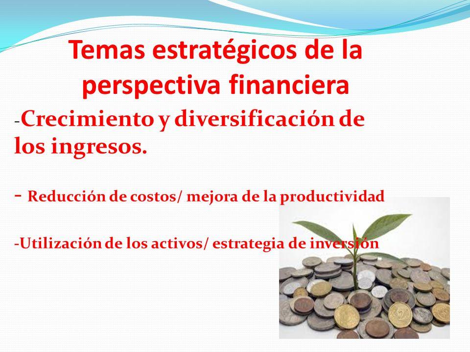 Temas estratégicos de la perspectiva financiera - Crecimiento y diversificación de los ingresos. - Reducción de costos/ mejora de la productividad -Ut