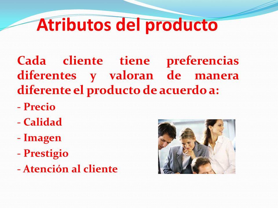 Atributos del producto Cada cliente tiene preferencias diferentes y valoran de manera diferente el producto de acuerdo a: - Precio - Calidad - Imagen