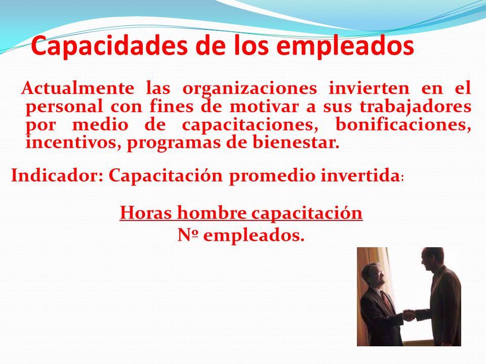Capacidades de los empleados Actualmente las organizaciones invierten en el personal con fines de motivar a sus trabajadores por medio de capacitacion