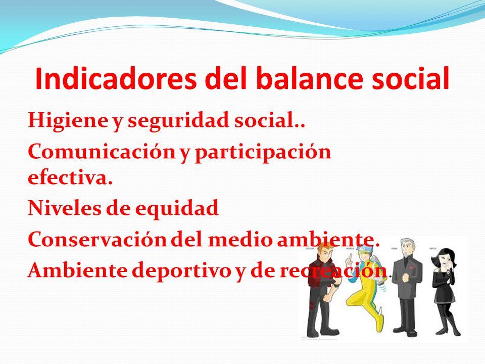 Indicadores del balance social Higiene y seguridad social.. Comunicación y participación efectiva. Niveles de equidad Conservación del medio ambiente.