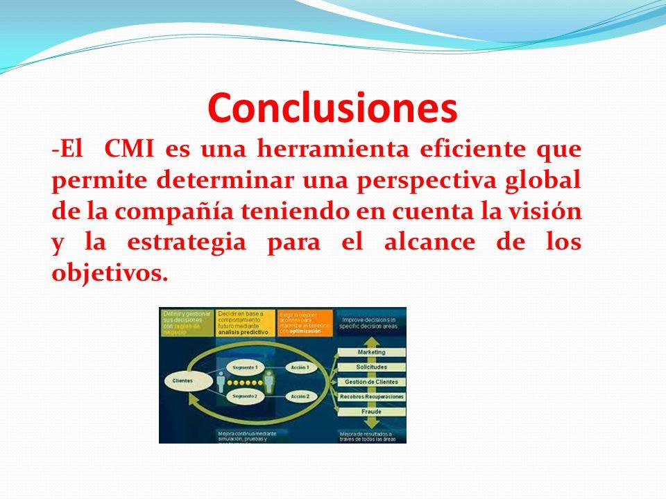 Conclusiones - El CMI es una herramienta eficiente que permite determinar una perspectiva global de la compañía teniendo en cuenta la visión y la estr