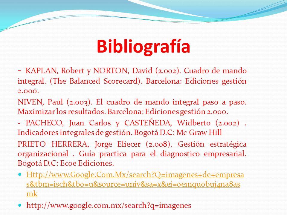 Bibliografía - KAPLAN, Robert y NORTON, David (2.002). Cuadro de mando integral. (The Balanced Scorecard). Barcelona: Ediciones gestión 2.000. NIVEN,
