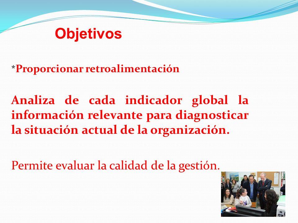 * Proporcionar retroalimentación Analiza de cada indicador global la información relevante para diagnosticar la situación actual de la organización. P