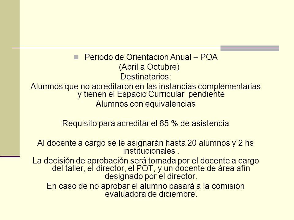 Periodo de Orientación Anual – POA (Abril a Octubre) Destinatarios: Alumnos que no acreditaron en las instancias complementarias y tienen el Espacio C