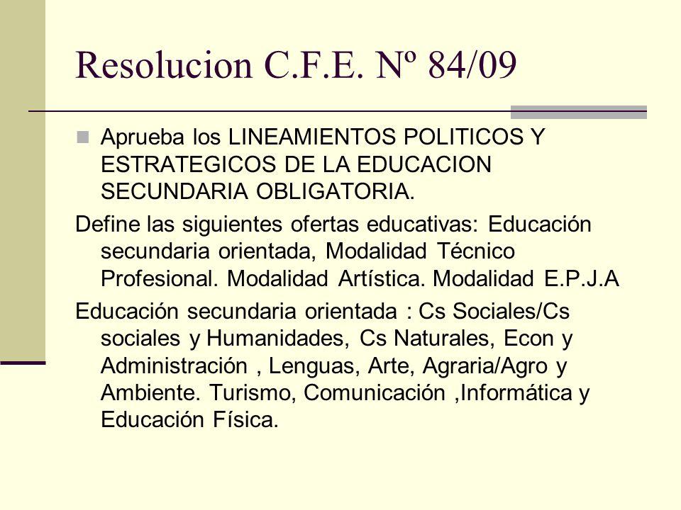 Resolucion C.F.E. Nº 84/09 Aprueba los LINEAMIENTOS POLITICOS Y ESTRATEGICOS DE LA EDUCACION SECUNDARIA OBLIGATORIA. Define las siguientes ofertas edu