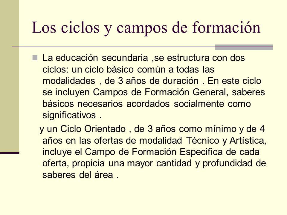 Los ciclos y campos de formación La educación secundaria,se estructura con dos ciclos: un ciclo básico común a todas las modalidades, de 3 años de dur