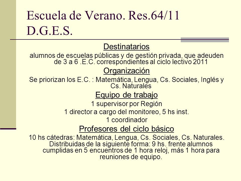 Escuela de Verano. Res.64/11 D.G.E.S. Destinatarios alumnos de escuelas públicas y de gestión privada, que adeuden de 3 a 6.E.C. correspondientes al c