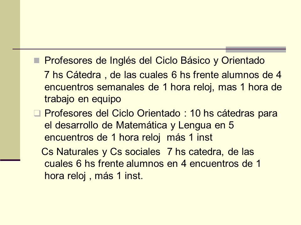 Profesores de Inglés del Ciclo Básico y Orientado 7 hs Cátedra, de las cuales 6 hs frente alumnos de 4 encuentros semanales de 1 hora reloj, mas 1 hor