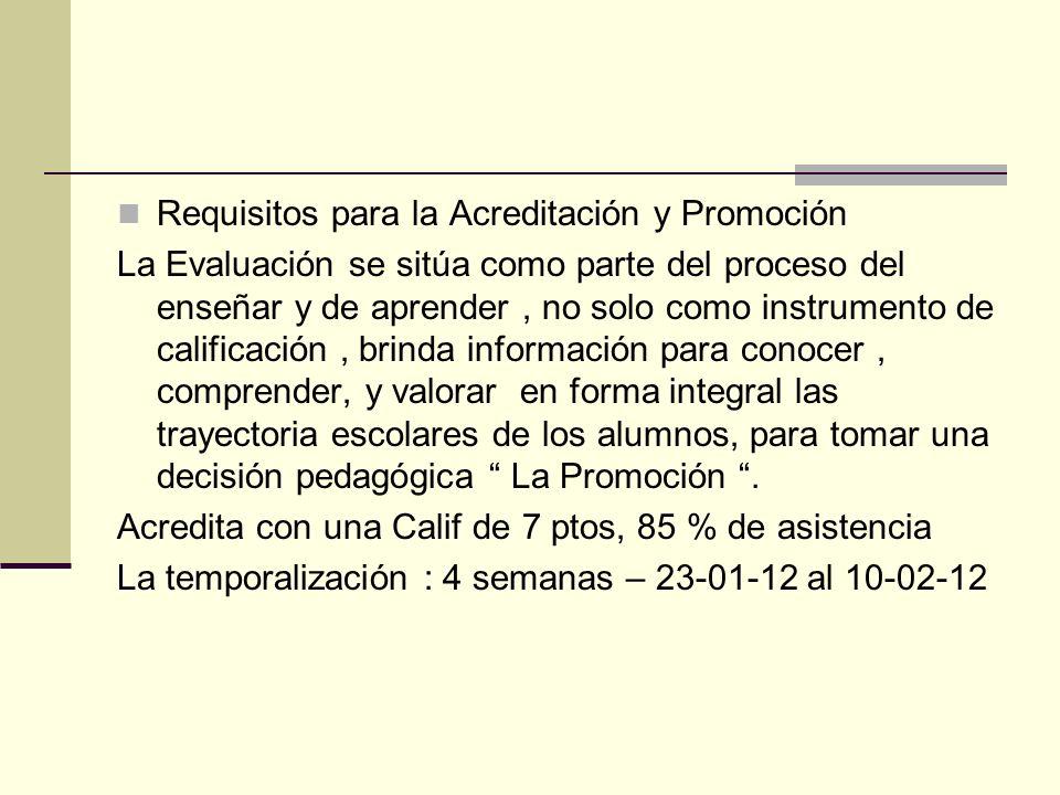 Requisitos para la Acreditación y Promoción La Evaluación se sitúa como parte del proceso del enseñar y de aprender, no solo como instrumento de calif