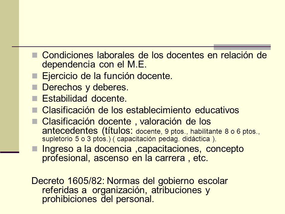 Condiciones laborales de los docentes en relación de dependencia con el M.E. Ejercicio de la función docente. Derechos y deberes. Estabilidad docente.