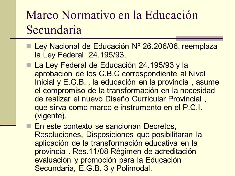Marco Normativo en la Educación Secundaria Ley Nacional de Educación Nº 26.206/06, reemplaza la Ley Federal 24.195/93. La Ley Federal de Educación 24.