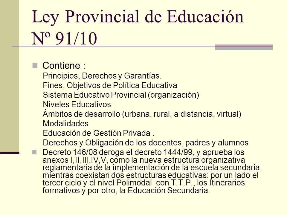 Ley Provincial de Educación Nº 91/10 Contiene : Principios, Derechos y Garantías. Fines, Objetivos de Política Educativa Sistema Educativo Provincial