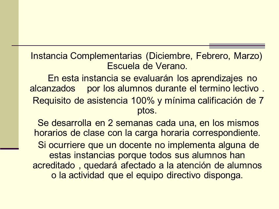 Instancia Complementarias (Diciembre, Febrero, Marzo) Escuela de Verano. En esta instancia se evaluarán los aprendizajes no alcanzados por los alumnos