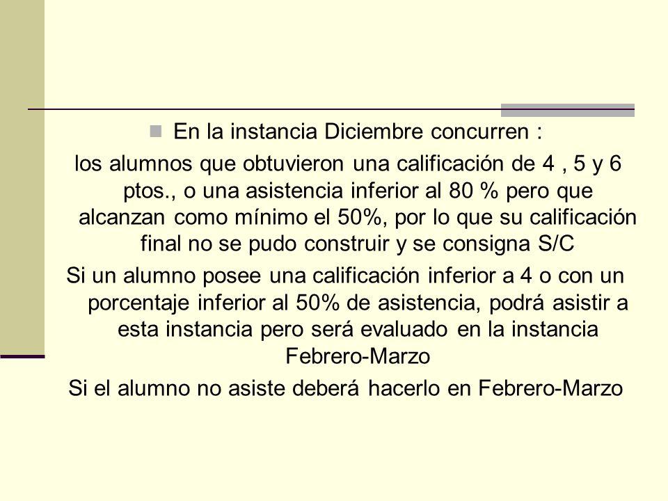 En la instancia Diciembre concurren : los alumnos que obtuvieron una calificación de 4, 5 y 6 ptos., o una asistencia inferior al 80 % pero que alcanz
