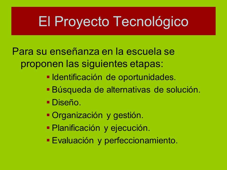Para su enseñanza en la escuela se proponen las siguientes etapas: Identificación de oportunidades. Búsqueda de alternativas de solución. Diseño. Orga