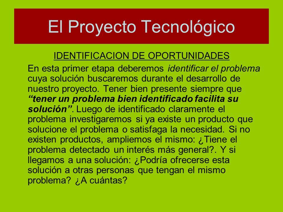IDENTIFICACION DE OPORTUNIDADES En esta primer etapa deberemos identificar el problema cuya solución buscaremos durante el desarrollo de nuestro proye
