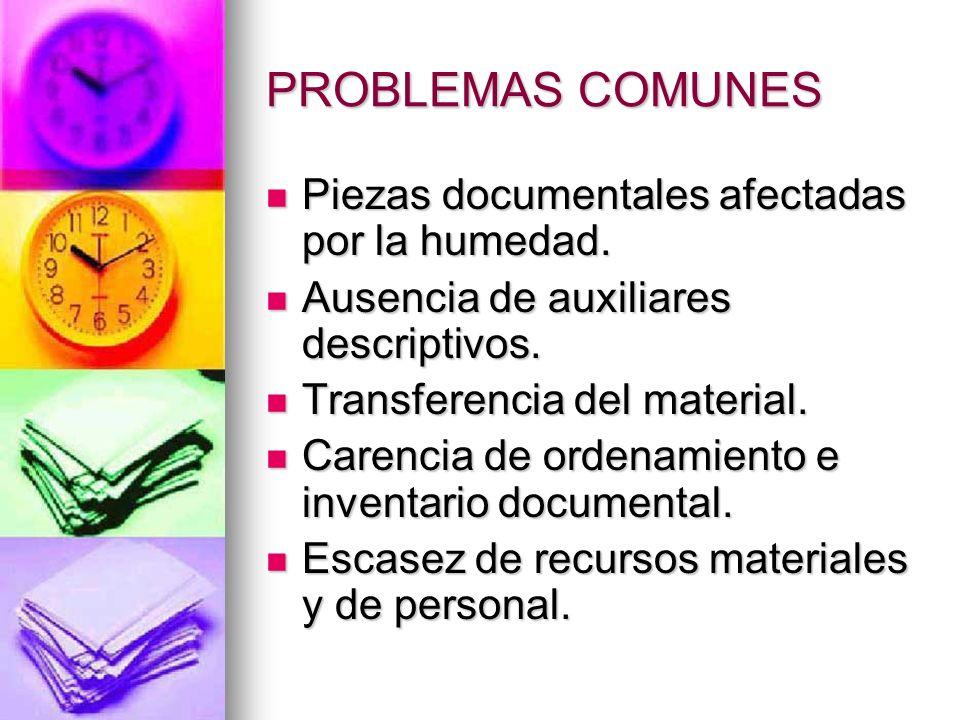 PROBLEMAS COMUNES Piezas documentales afectadas por la humedad.