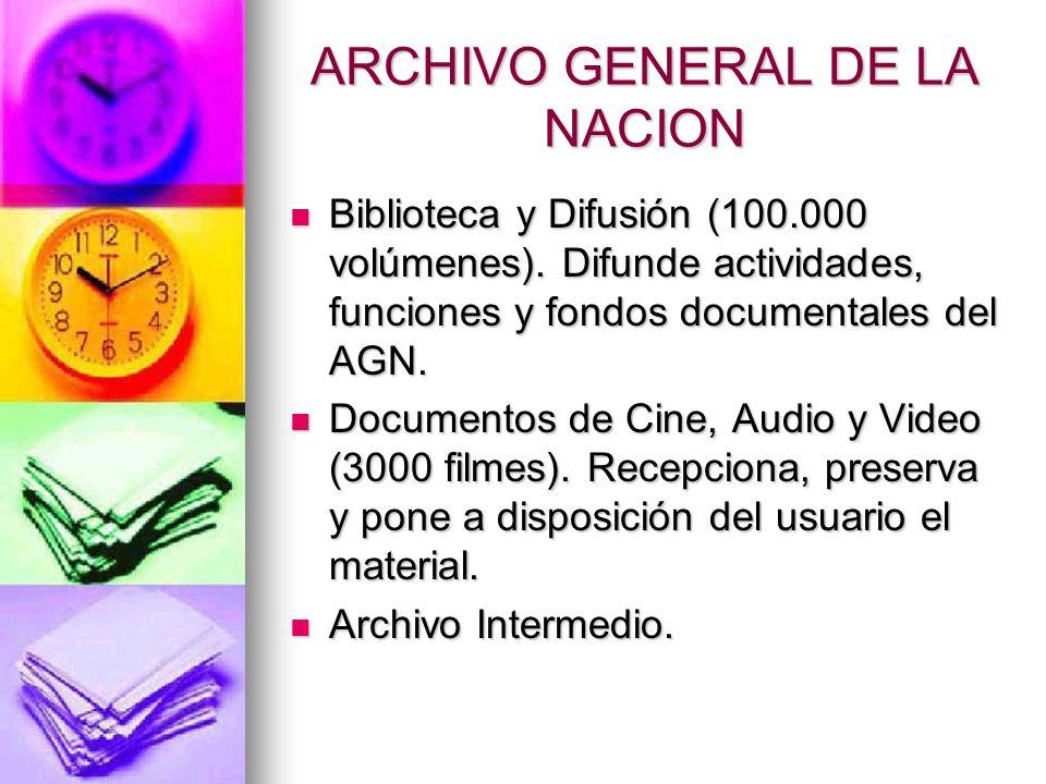 ARCHIVO GENERAL DE LA NACION Biblioteca y Difusión (100.000 volúmenes).