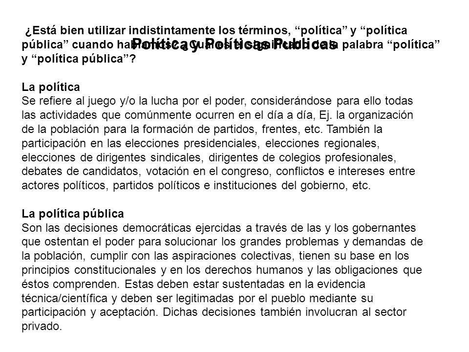 Política y Políticas Publicas ¿Está bien utilizar indistintamente los términos, política y política pública cuando hablamos? ¿Cuál es el significado d
