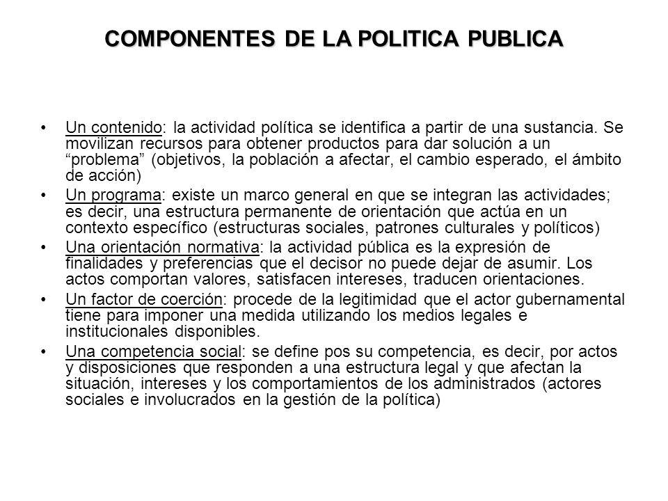COMPONENTES DE LA POLITICA PUBLICA Un contenido: la actividad política se identifica a partir de una sustancia. Se movilizan recursos para obtener pro