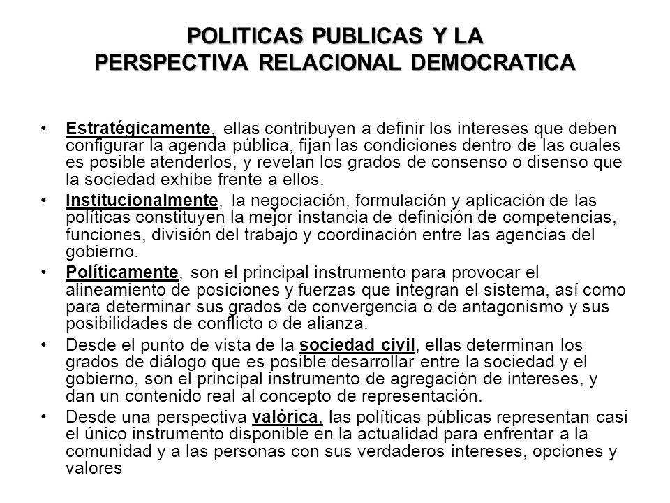 POLITICAS PUBLICAS Y LA PERSPECTIVA RELACIONAL DEMOCRATICA Estratégicamente, ellas contribuyen a definir los intereses que deben configurar la agenda