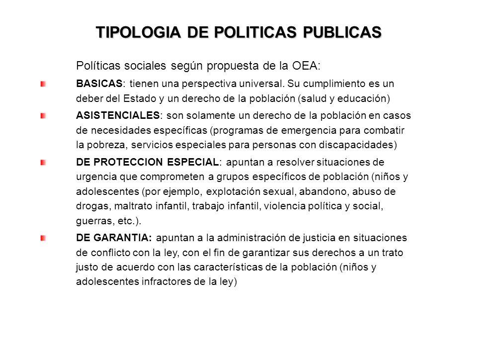 TIPOLOGIA DE POLITICAS PUBLICAS Políticas sociales según propuesta de la OEA: BASICAS: tienen una perspectiva universal. Su cumplimiento es un deber d