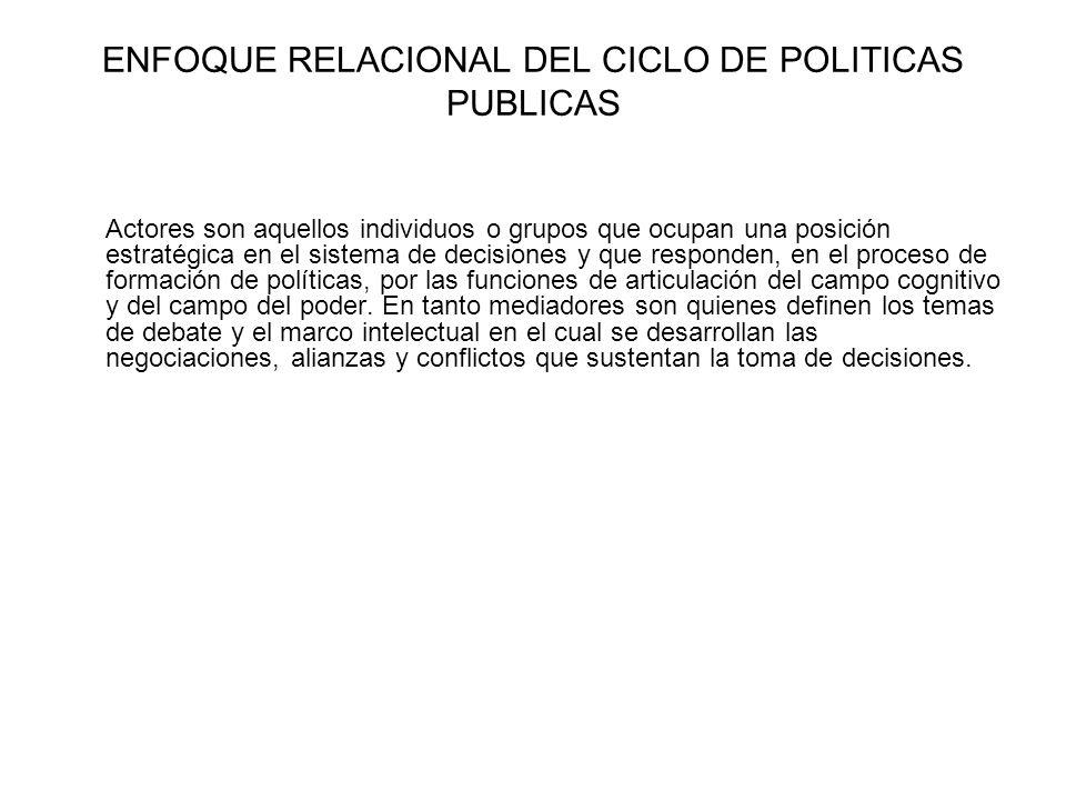 ENFOQUE RELACIONAL DEL CICLO DE POLITICAS PUBLICAS Actores son aquellos individuos o grupos que ocupan una posición estratégica en el sistema de decis