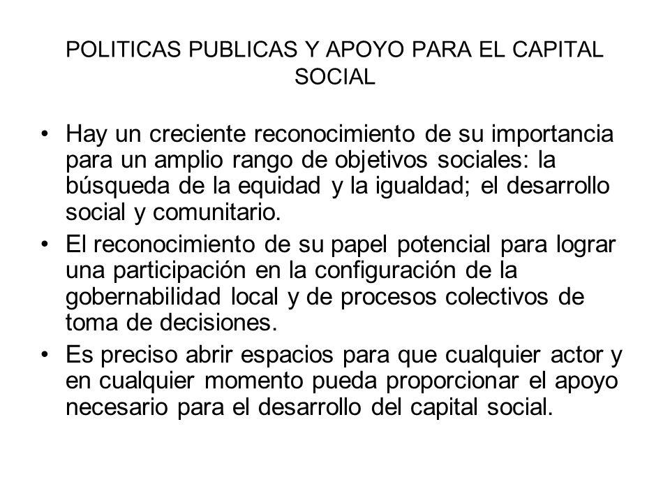 POLITICAS PUBLICAS Y APOYO PARA EL CAPITAL SOCIAL Hay un creciente reconocimiento de su importancia para un amplio rango de objetivos sociales: la bús