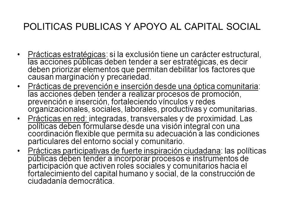 POLITICAS PUBLICAS Y APOYO AL CAPITAL SOCIAL Prácticas estratégicas: si la exclusión tiene un carácter estructural, las acciones públicas deben tender