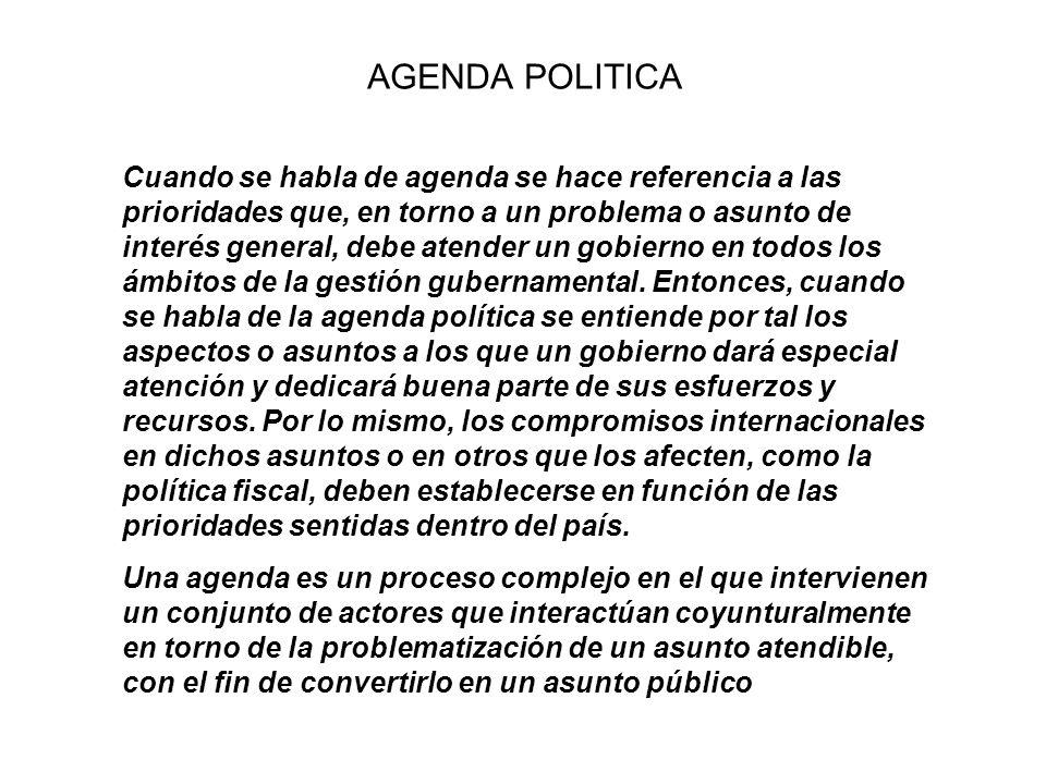 AGENDA POLITICA Cuando se habla de agenda se hace referencia a las prioridades que, en torno a un problema o asunto de interés general, debe atender u